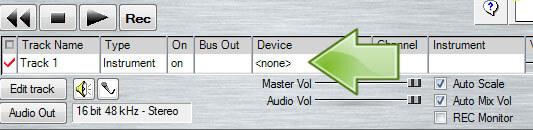 Anvil Studio konfigurieren - Device auswählen